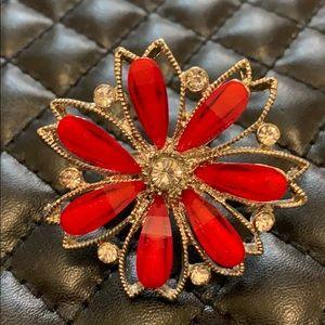 Macy's Silver Adjustable Embellished Flower Ring